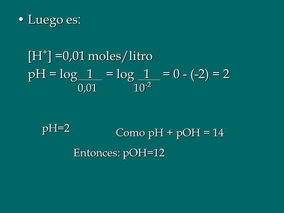 Luego es: [H+] =0,01 moles/litro pH = log 1 = log 1 = 0 - (-2) = 2